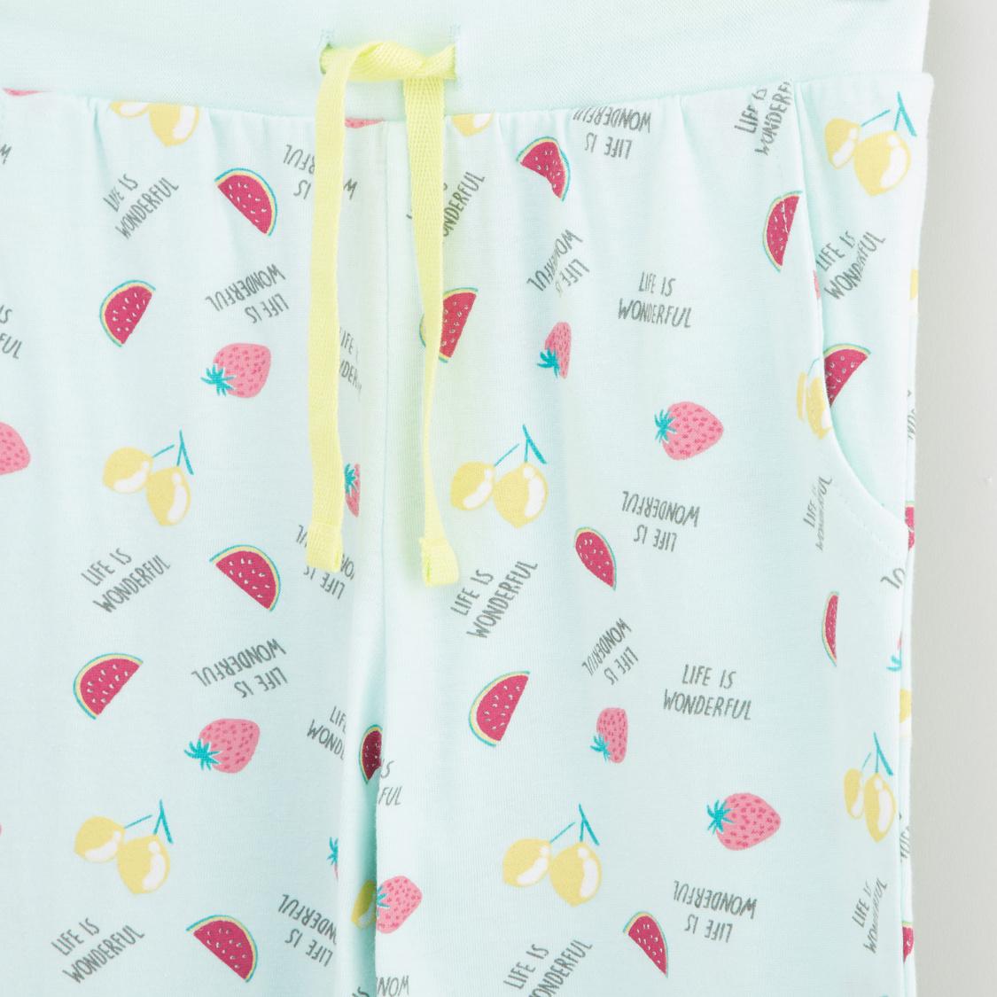 Fruit Smoothie Print T-shirt and Pyjama Set