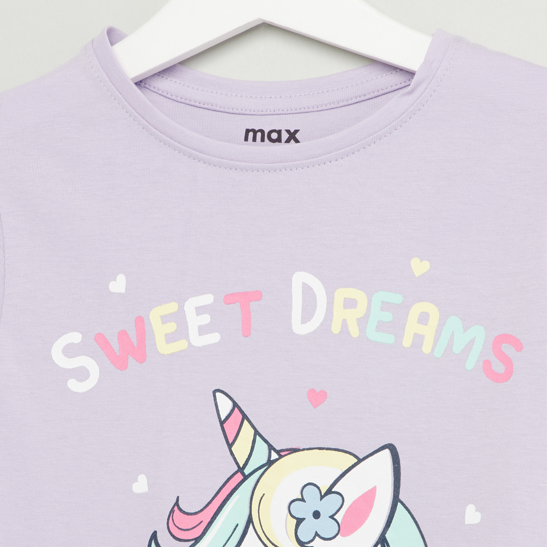 Unicorn Print Round Neck T-shirt and Pyjama Set