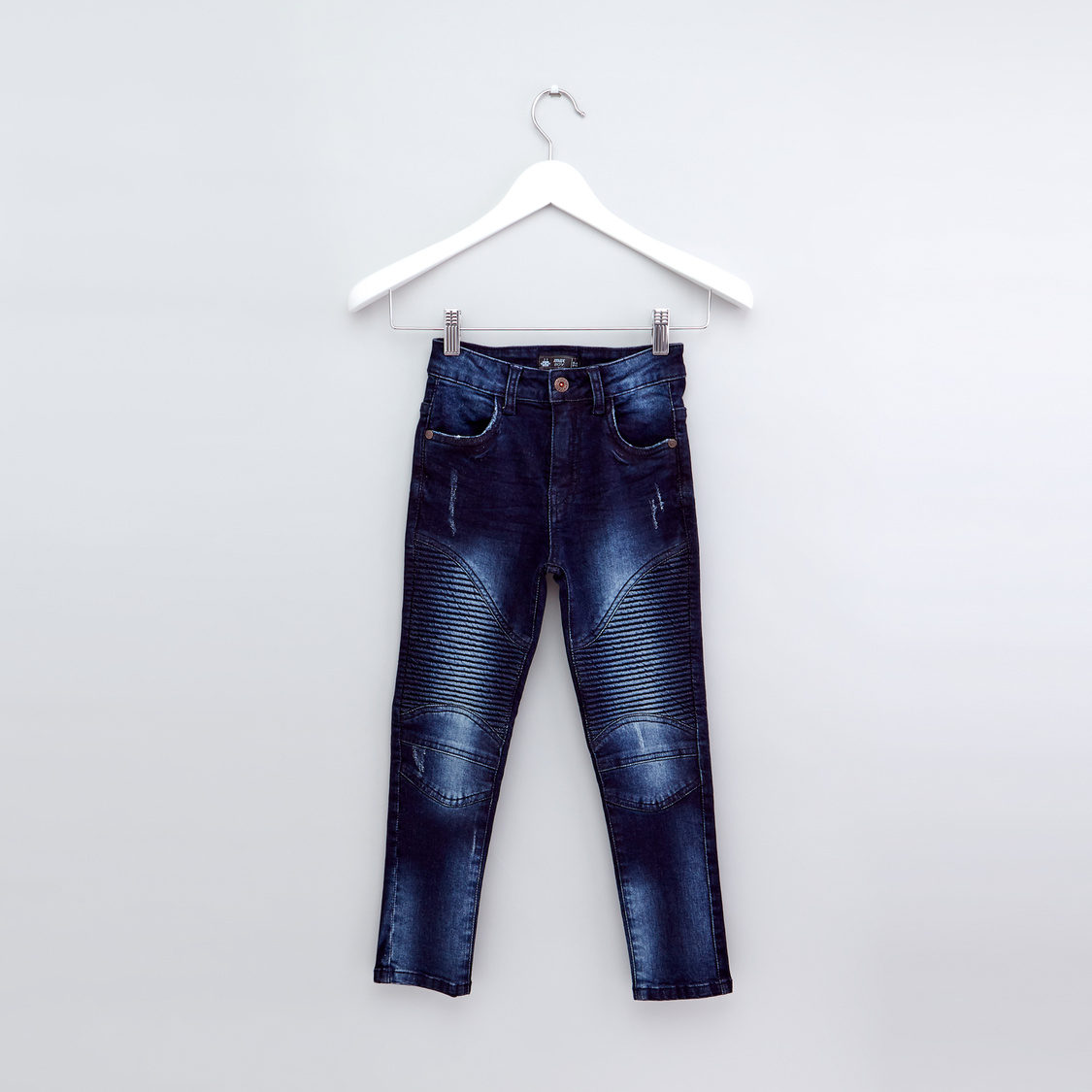 Textured Full Length Jeans with Button Closure and Pocket Detail