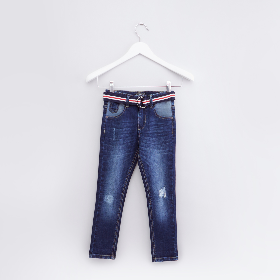 Distressed Jeans with Pocket Detail and Belt