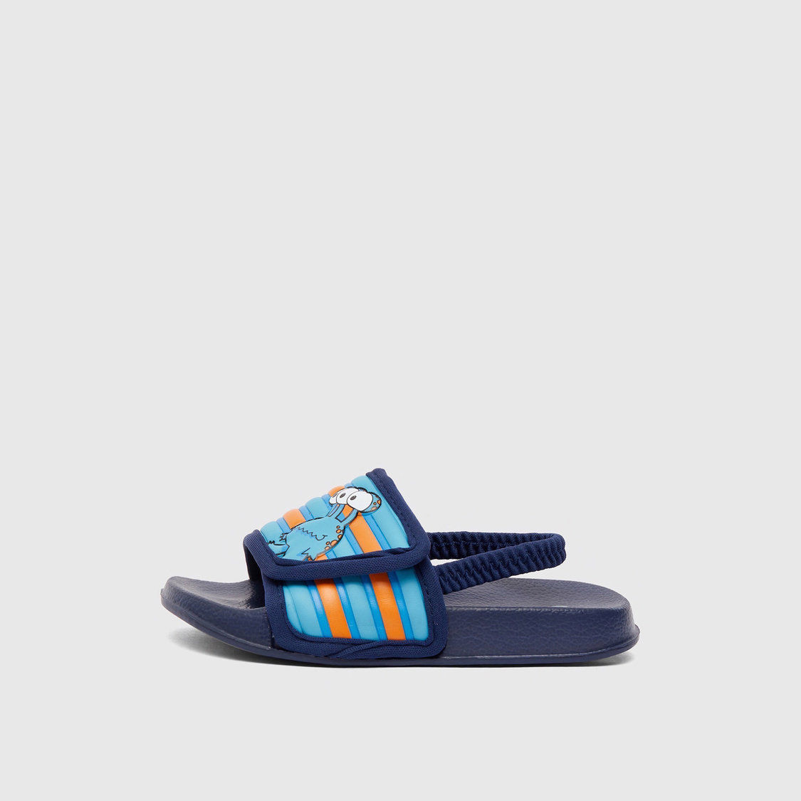 Textured Slides with Elasticised Straps and Vamp Band