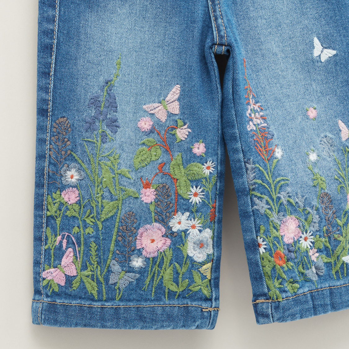 Floral Embroidery Denim Culottes with Pocket Detail