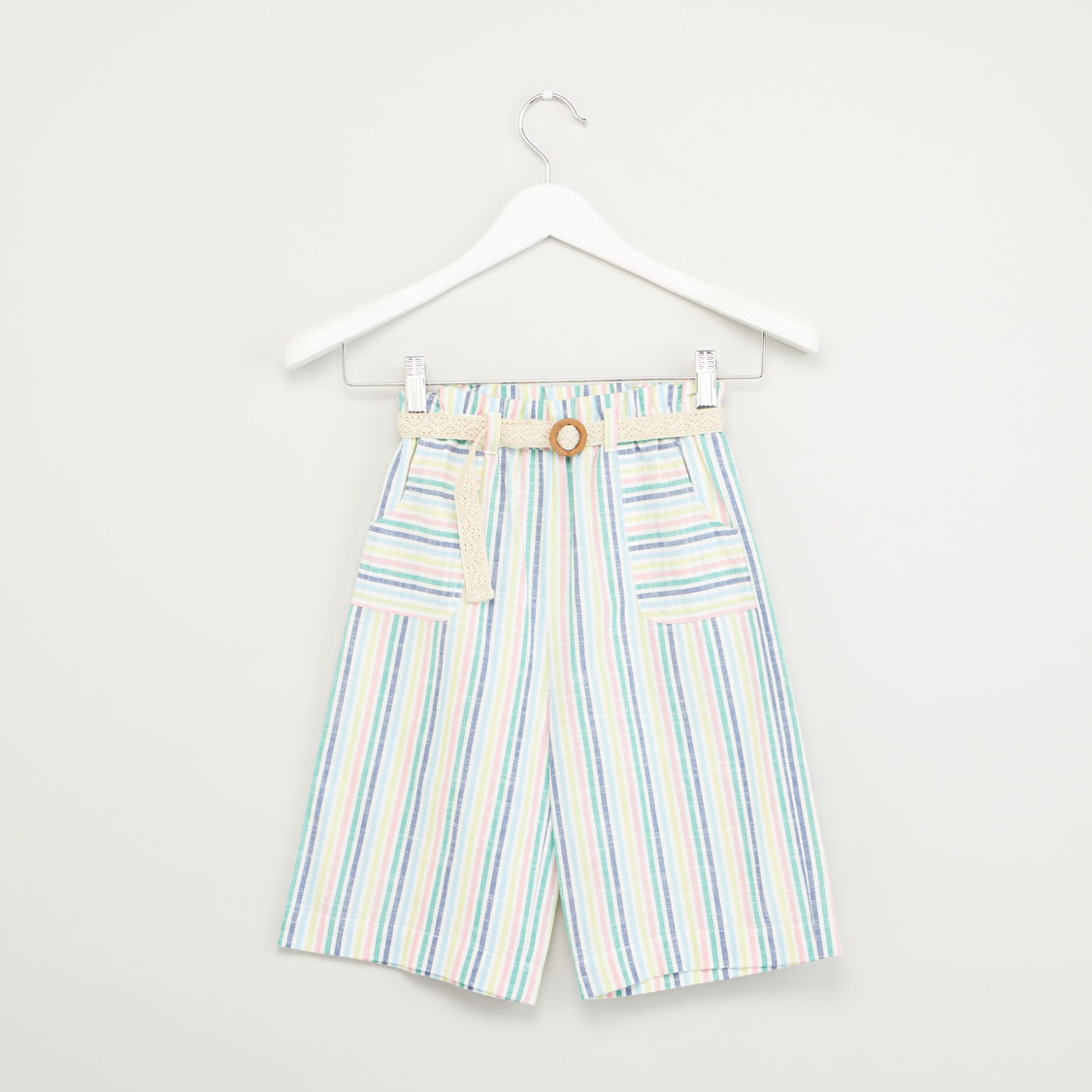 Striped Culottes with Pocket Detail and Belt