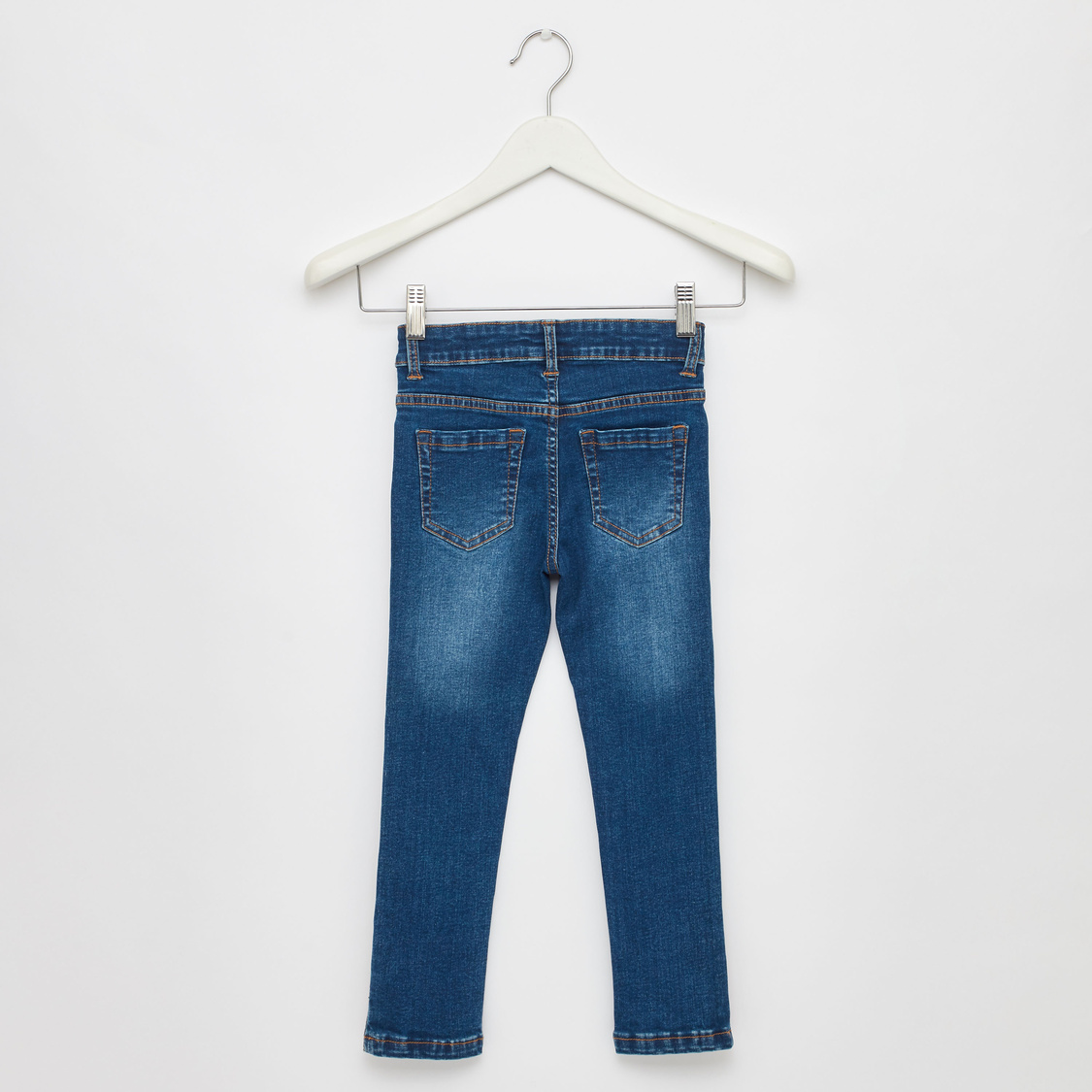 Full Length Jeans with 5-Pockets and Sequinned Side Stripes