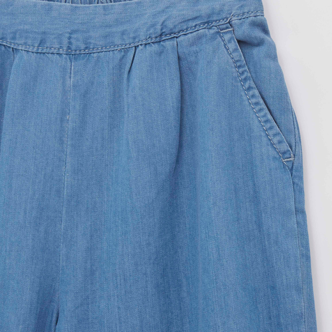 Solid Pants with Pocket Detail and Embroidered Hem