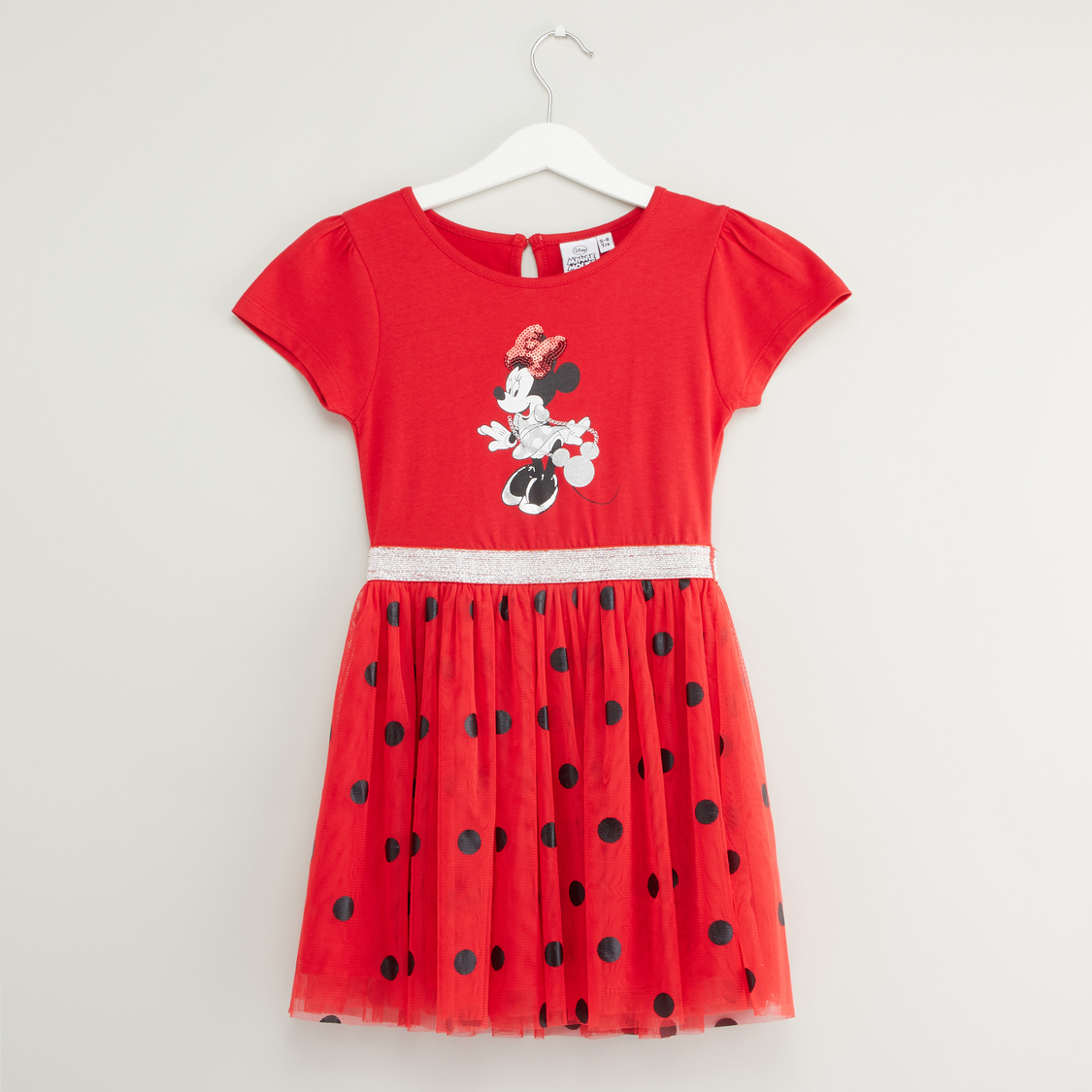 Minnie Mouse Print Dress with Round Neck and Short Sleeves