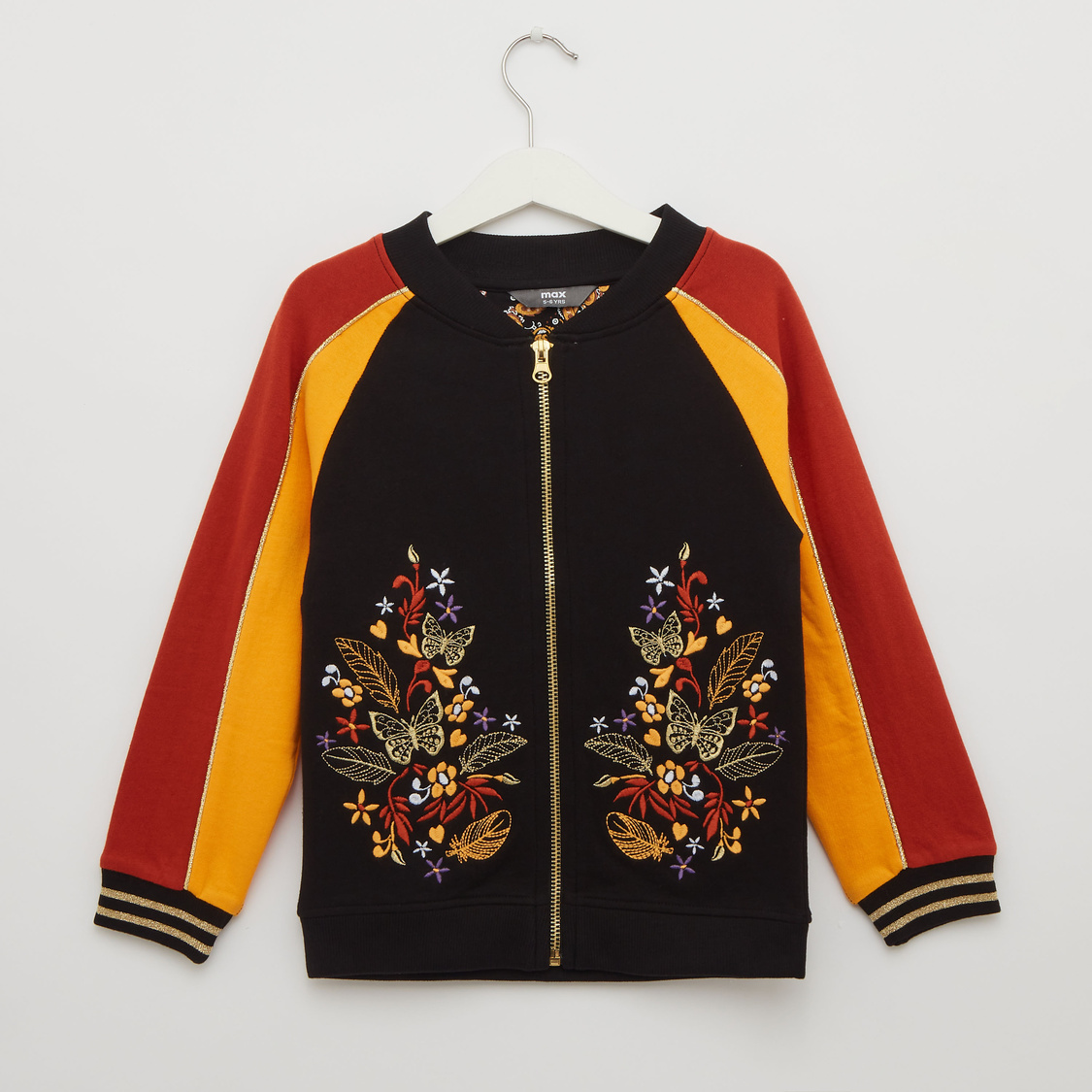 Embroidered Detail Bomber Jacket with Round Neck and Long Sleeves