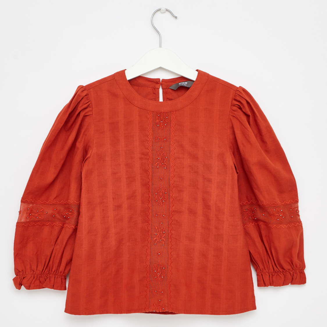 Textured Round Neck Button Back Top with Long Sleeves
