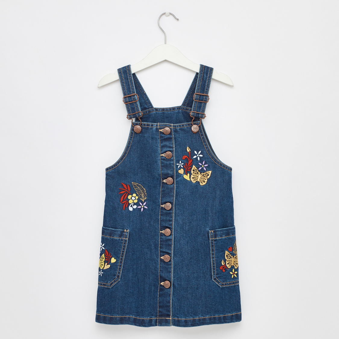 Embroidered Pinafore Dress with Pockets