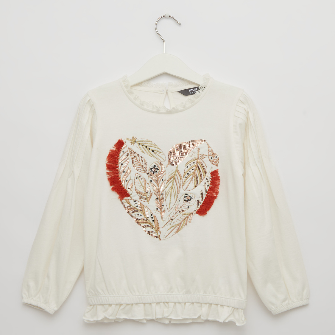 Embellished Round Neck Top with Long Sleeves