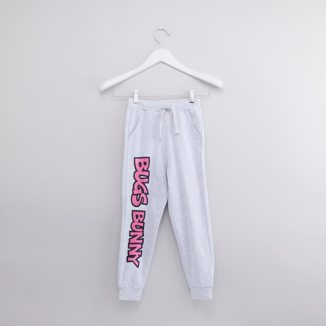 Bugs Bunny Printed Round Neck Sweatshirt with Jog Pants