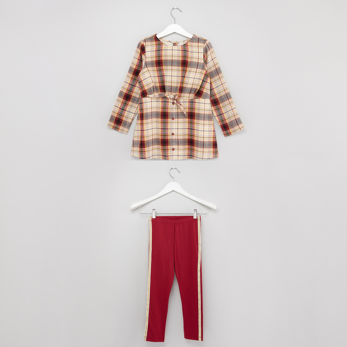 Checked Round Neck Top with Solid Pants Set