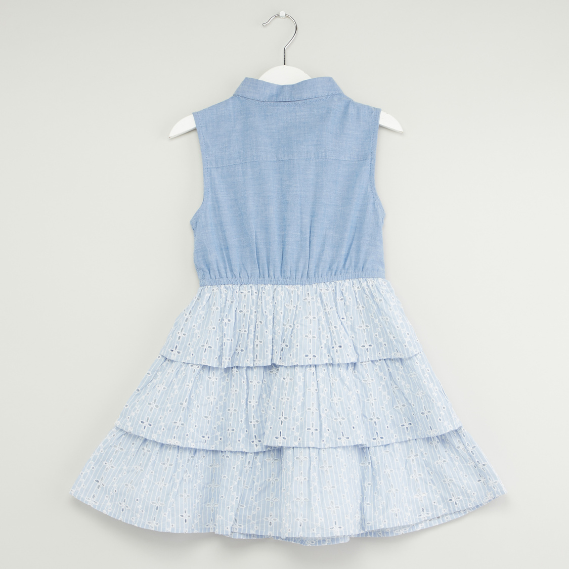 Schiffli Detail Sleeveless Dress with Spread Collar and Front Knot