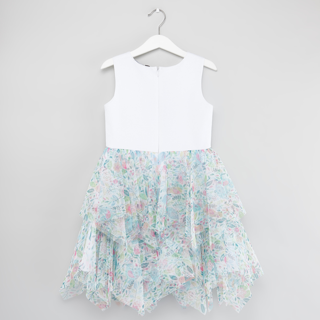 Printed Sleeveless Tiered Dress with Flower Applique