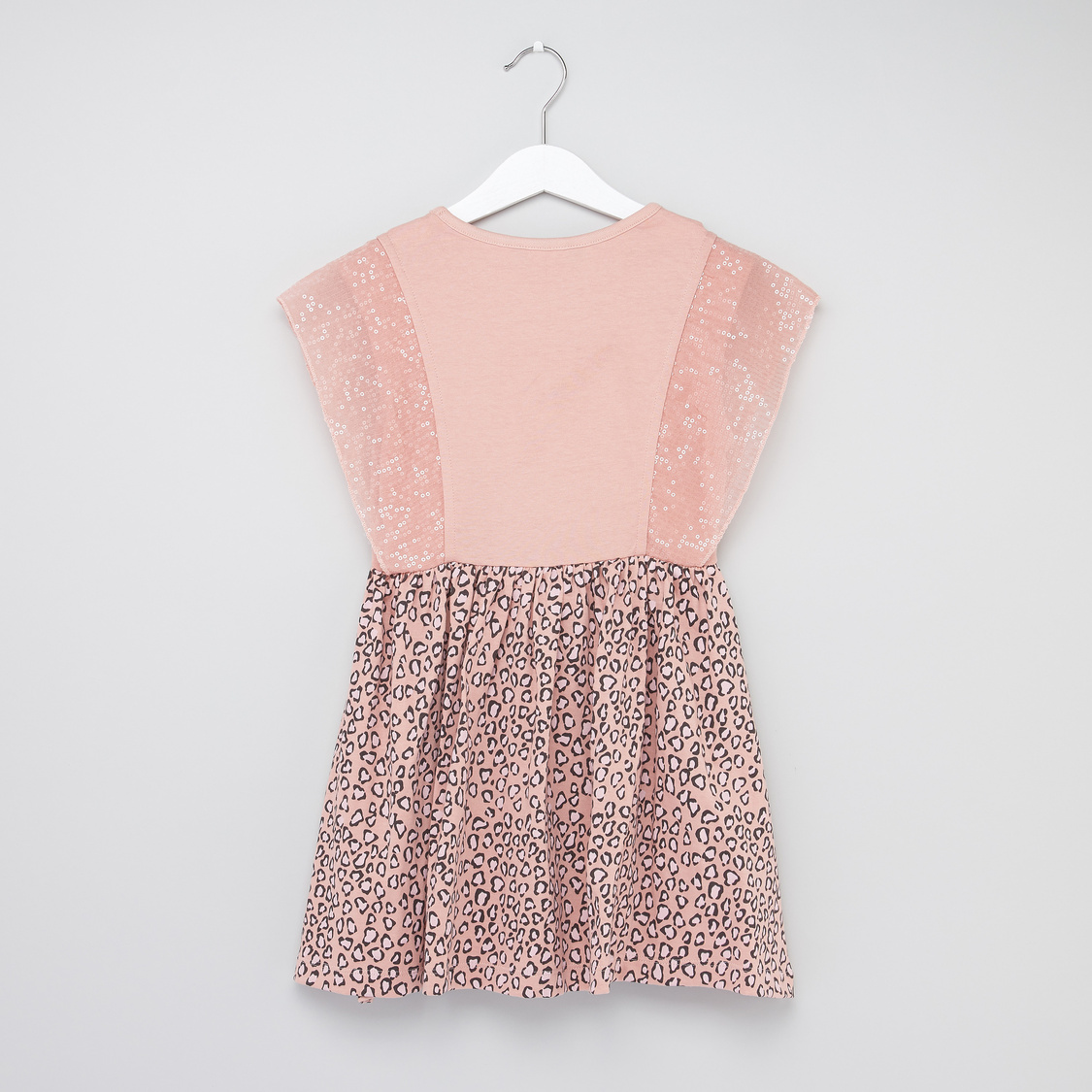 Printed Dress with Sequin Detail and Cap Sleeves