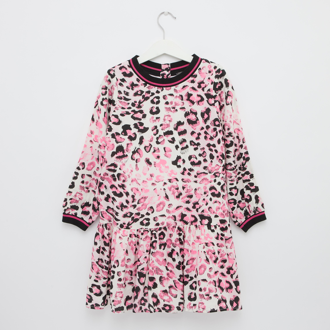 Animal Print Dress with Round Neck and Long Sleeves
