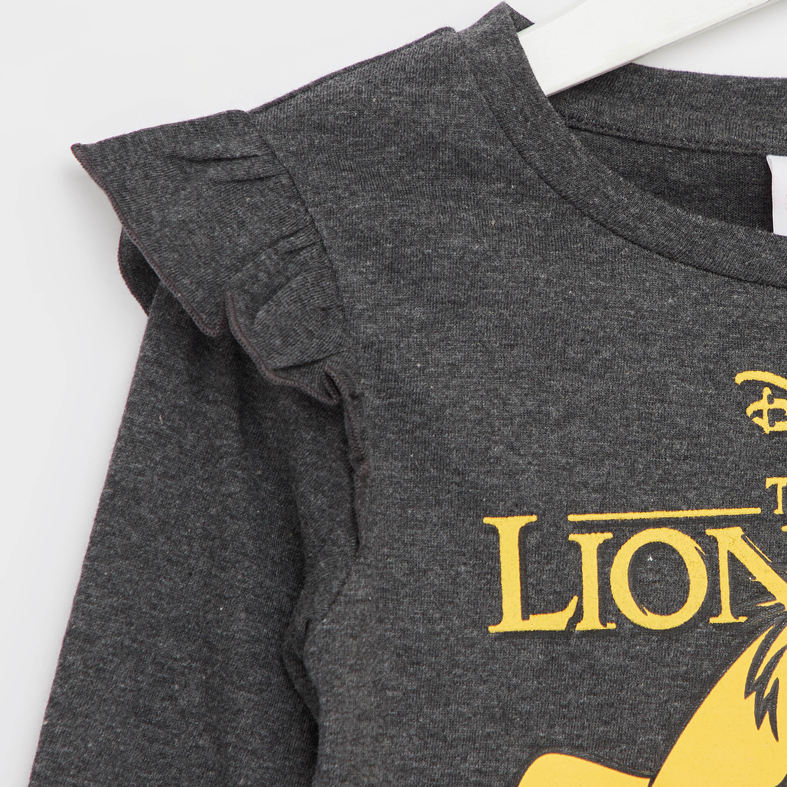 Lion King Printed T-shirt with Round Neck and Long Sleeves