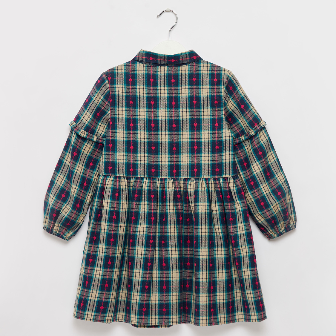 Checked Long Sleeves Dress with Animal Applique