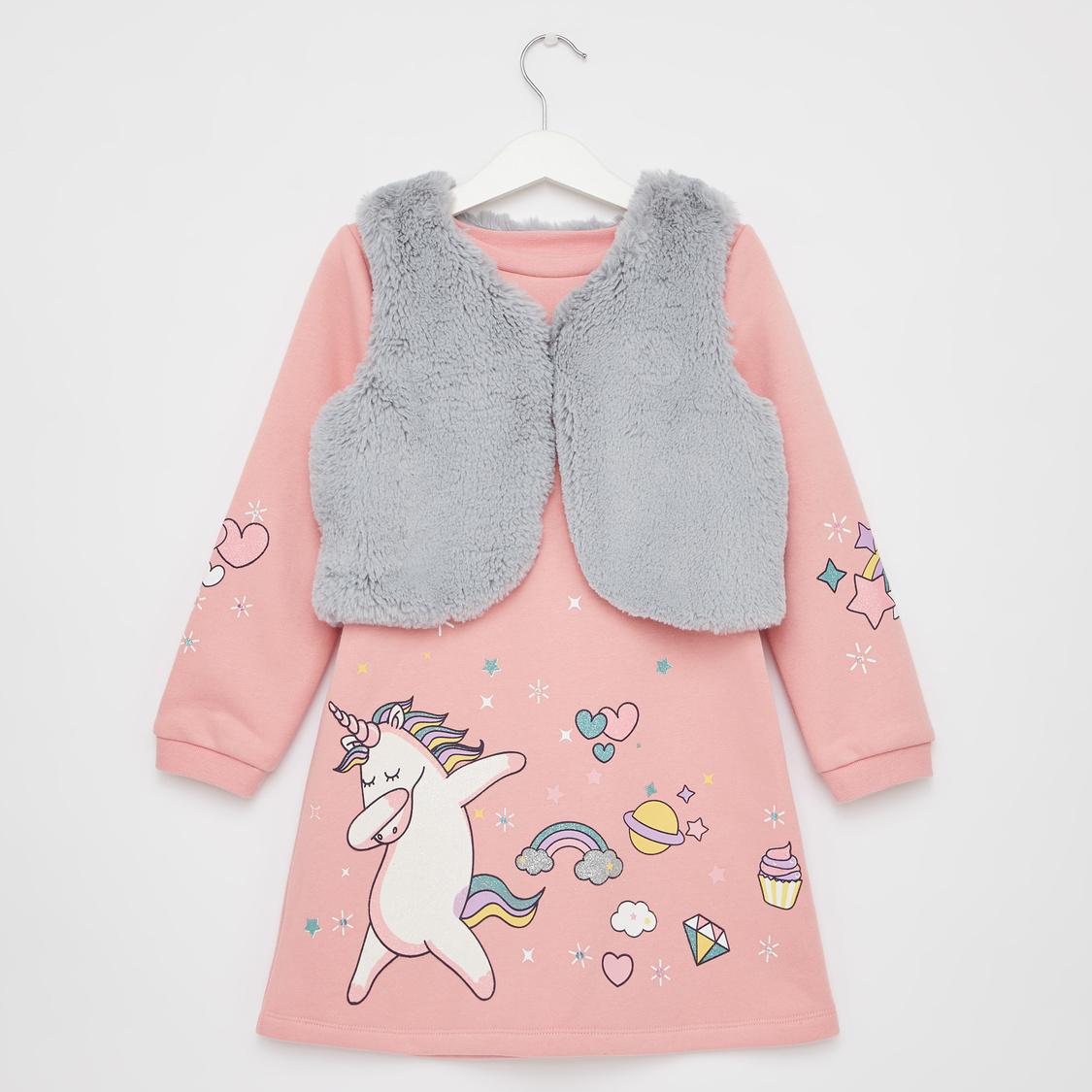 Unicorn Print Knee Length Dress with Textured Jacket