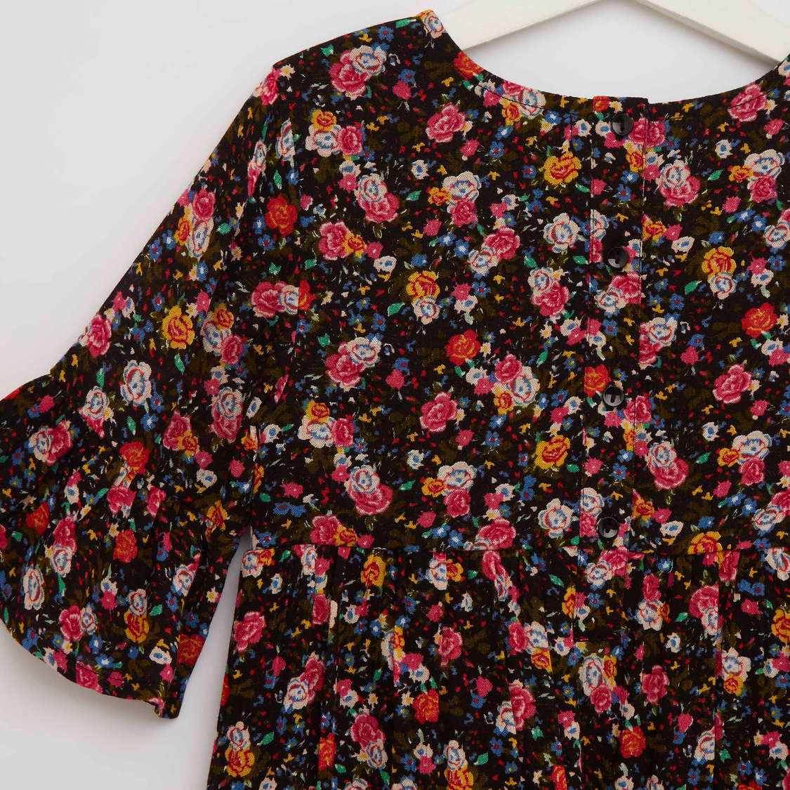 Floral Print Round Neck Tiered Dress with Long Sleeves