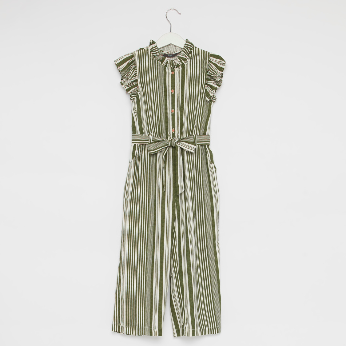Stripe Round Neck Juumpsuit with Cap Sleeves and Ruffle Detail
