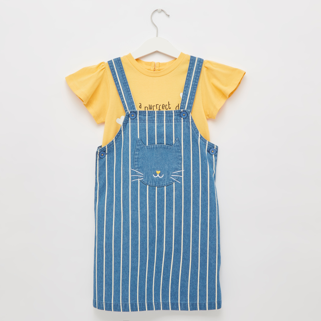 Graphic Print Round Neck T-shirt with Striped Pinafore