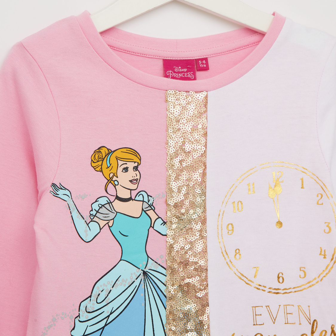 Embellished Round Neck T-shirt with Long Sleeves