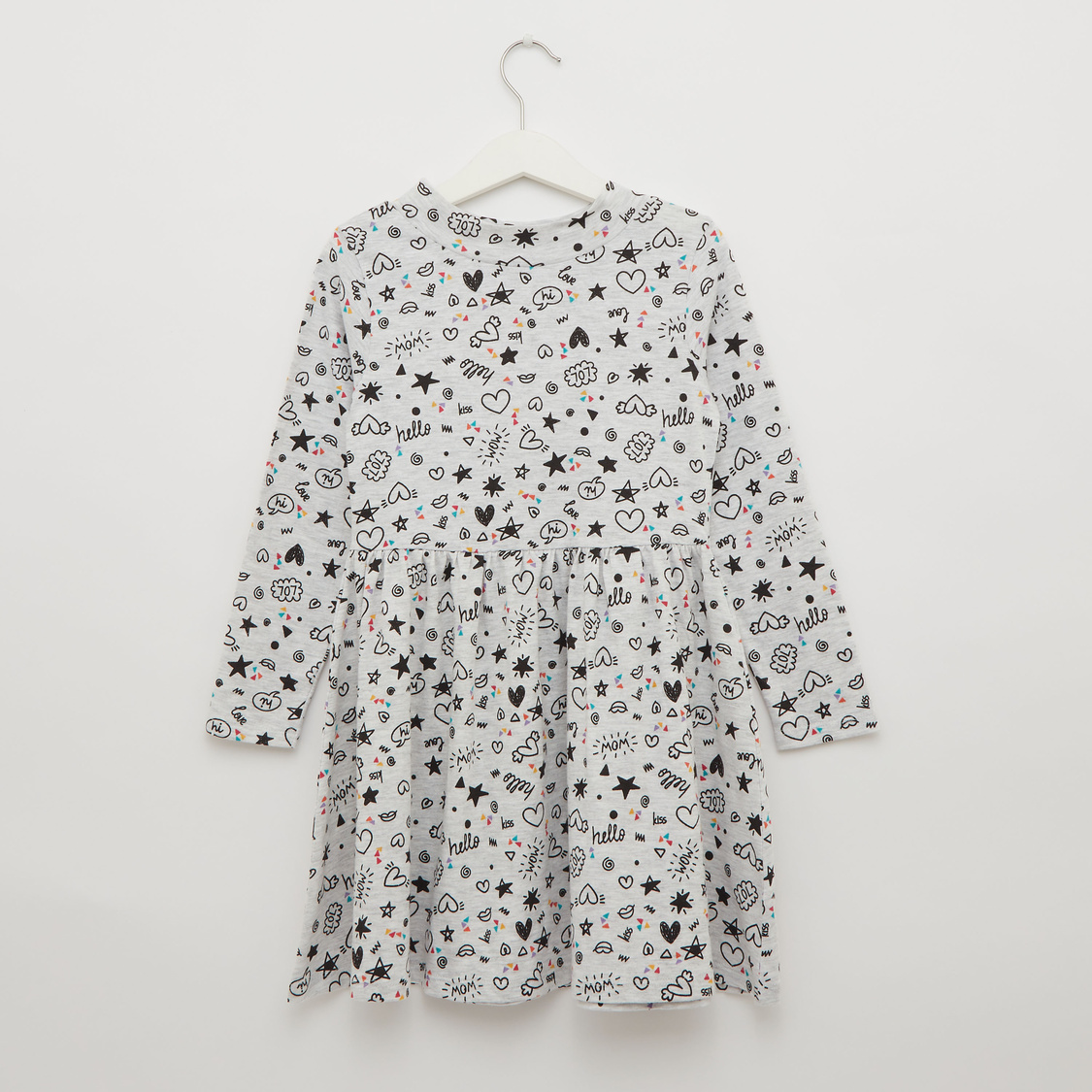 All-Over Printed Dress with Turtleneck and Long Sleeves