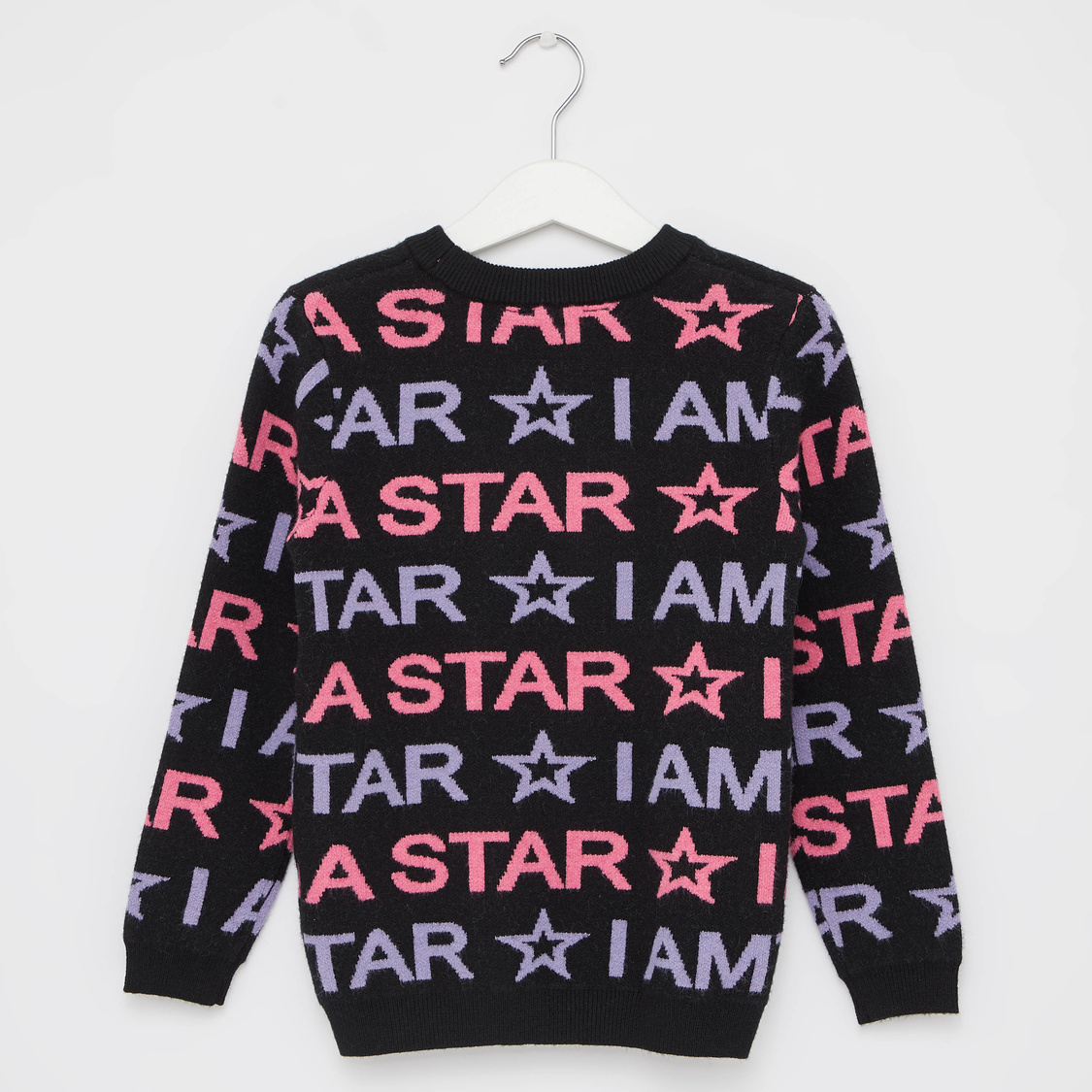 Text Print Sweater with Round Neck and Long Sleeves
