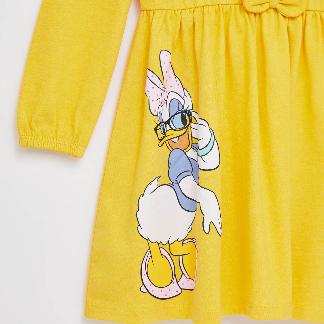 Daisy Duck Print Mini Dress with Sequin Detail and Long Sleeves