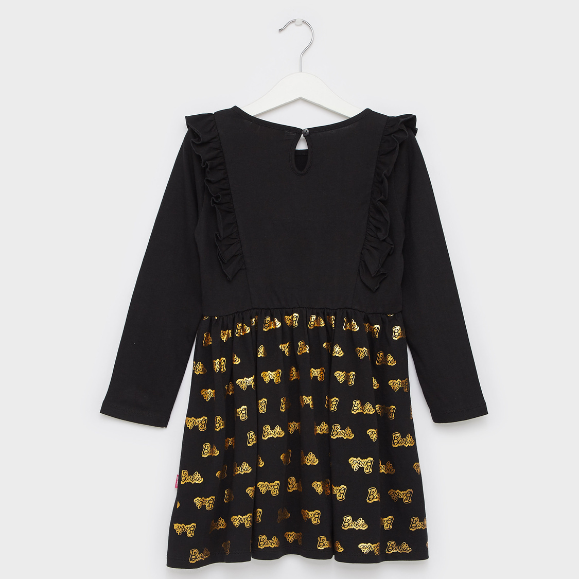 Typographic Print Round Neck Dress with Long Sleeves and Ruffle Detail