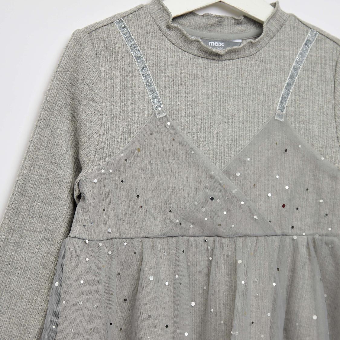 Embellished Long Sleeves Tutu Dress with Ruffle Detailed Neck