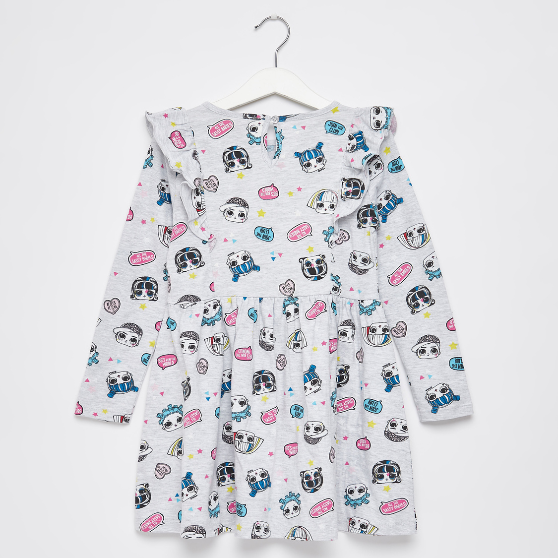 L.O.L Surprise! Print Knee Length Dress with Round Neck and Long Sleeves