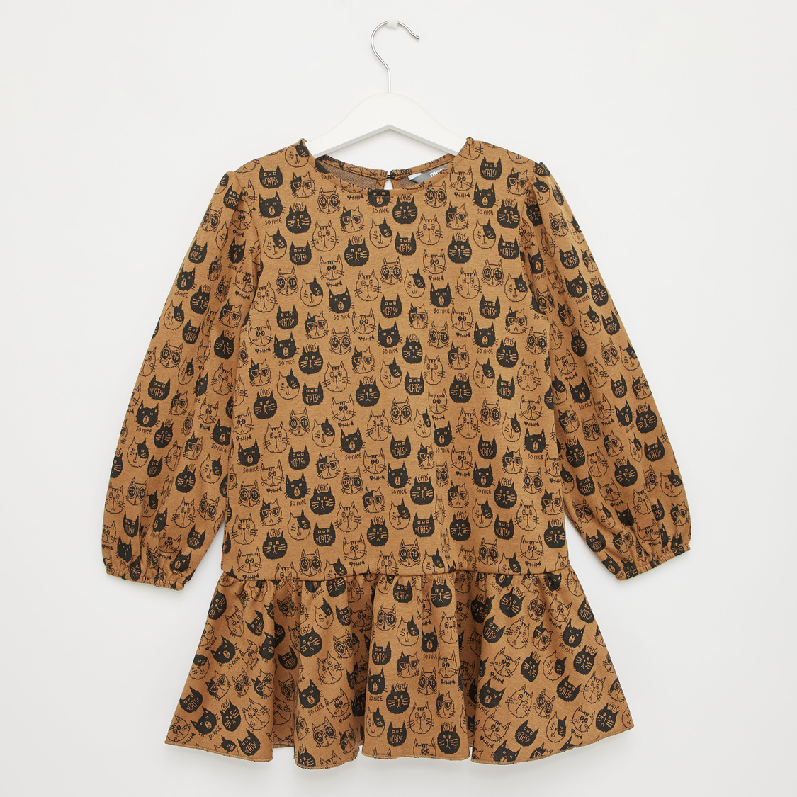 Cat Print Round Neck Dress with Long Sleeves