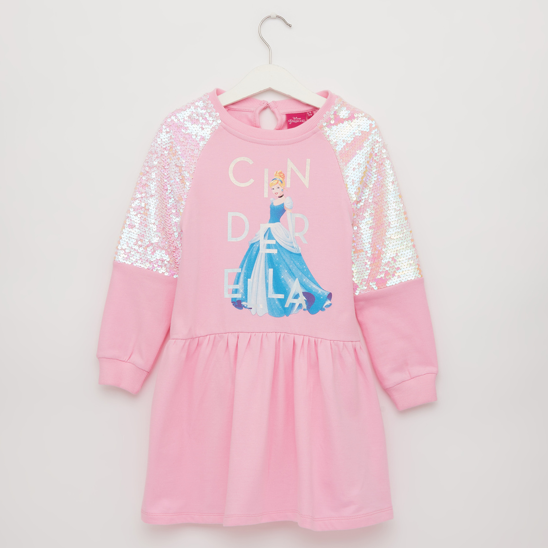 Embellished Cinderella Print Dress with Round Neck and Long Sleeves