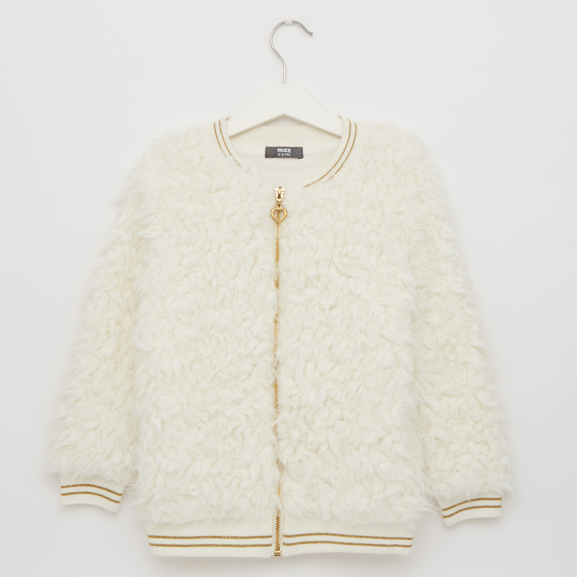 Textured Round Neck Bomber Jacket with Long Sleeves and Zip Closure