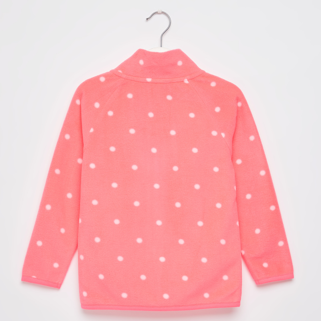 Polka Dots Print Jacket with High Neck and Long Sleeves