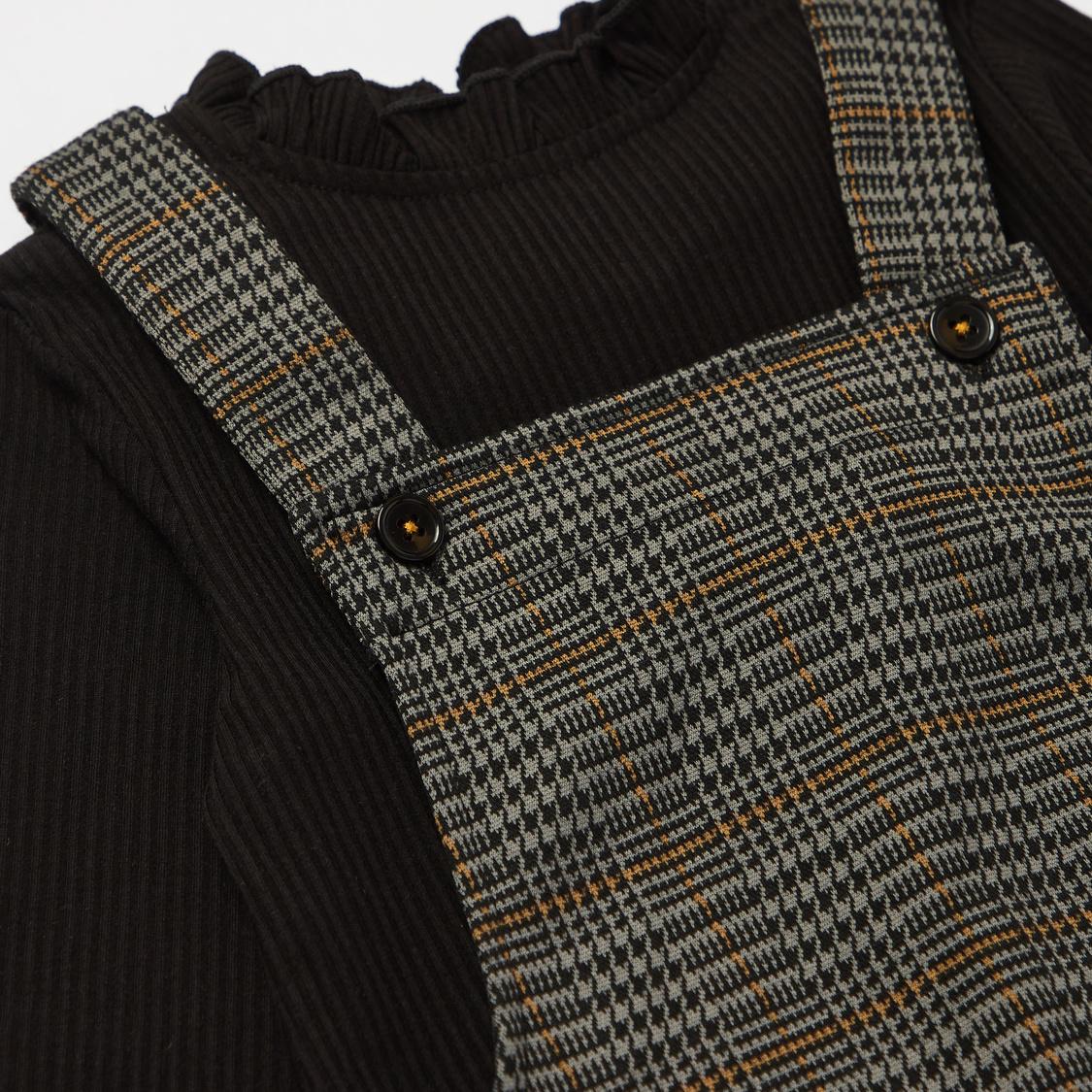Checked Midi Pinafore and Ribbed High Neck T-shirt Set