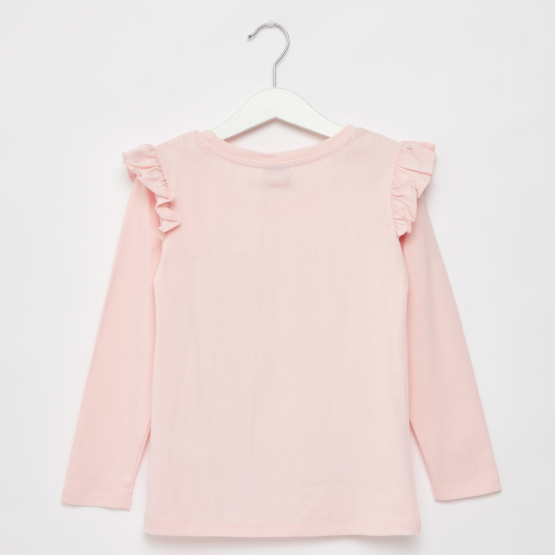 Princess Graphic Print T-shirt with Round Neck and Long Sleeves