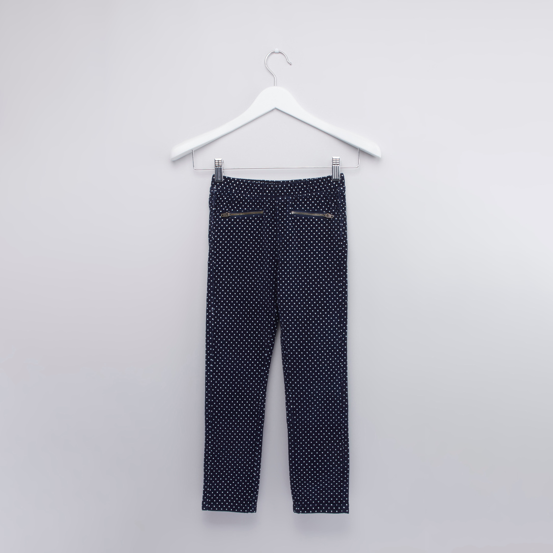 Polka Dot Printed Pants with Elasticised Waistband and Pocket Detail