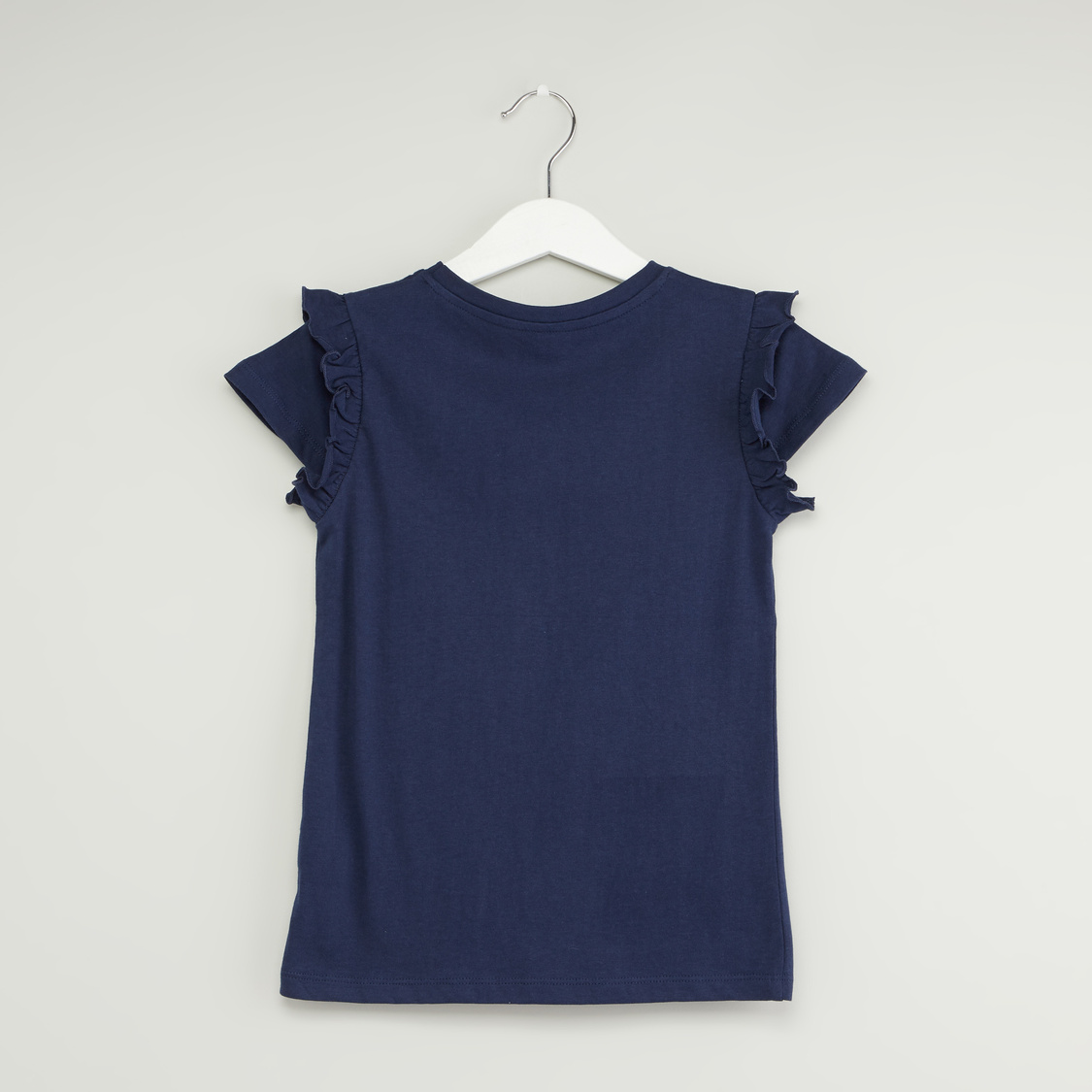 Graphic Print Round Neck T-shirt with Cap Sleeves and Ruffle Detail