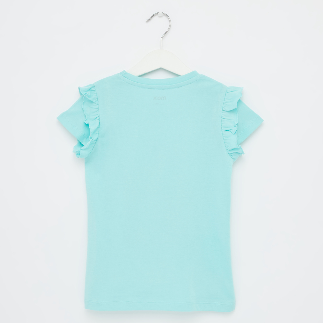 Graphic Print T-shirt with Cap Sleeves and Ruffle Detail