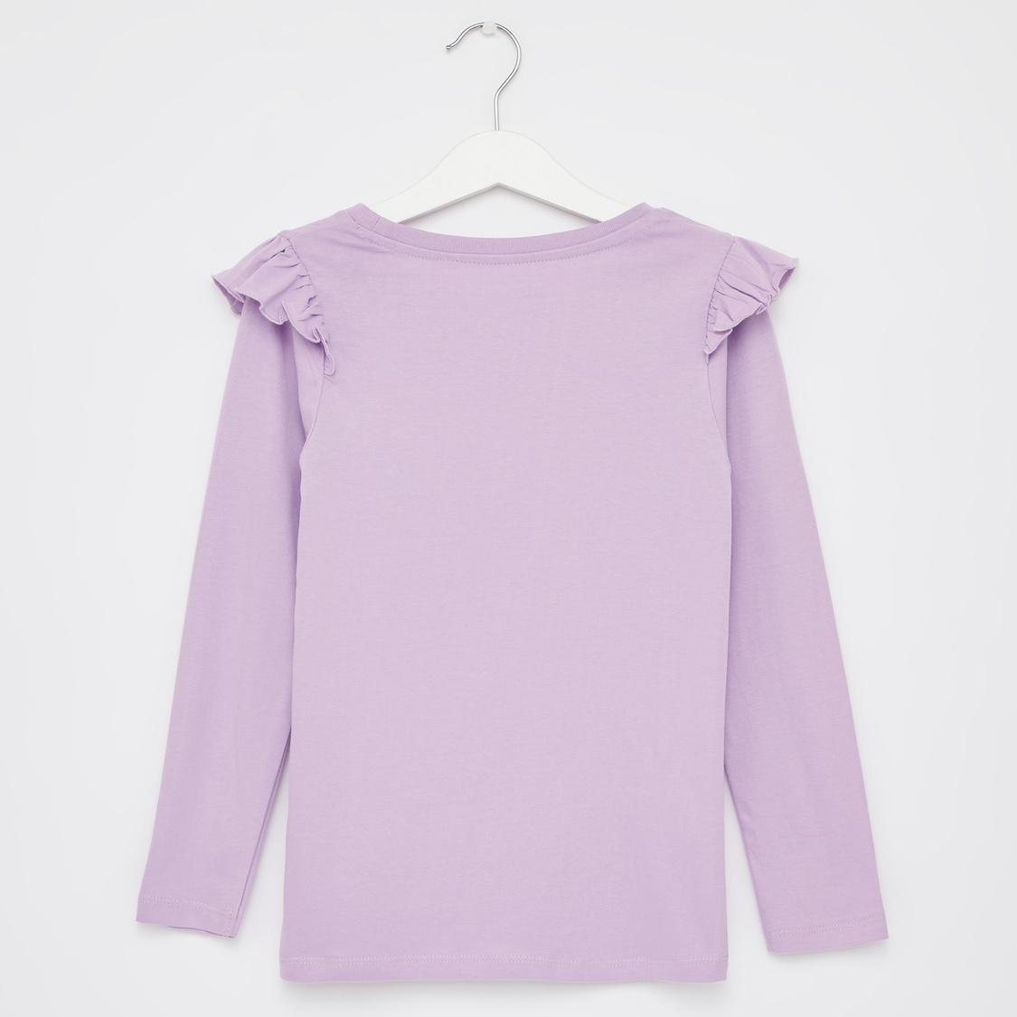 Printed Round Neck T-shirt with Long Sleeves and Ruffle Detail