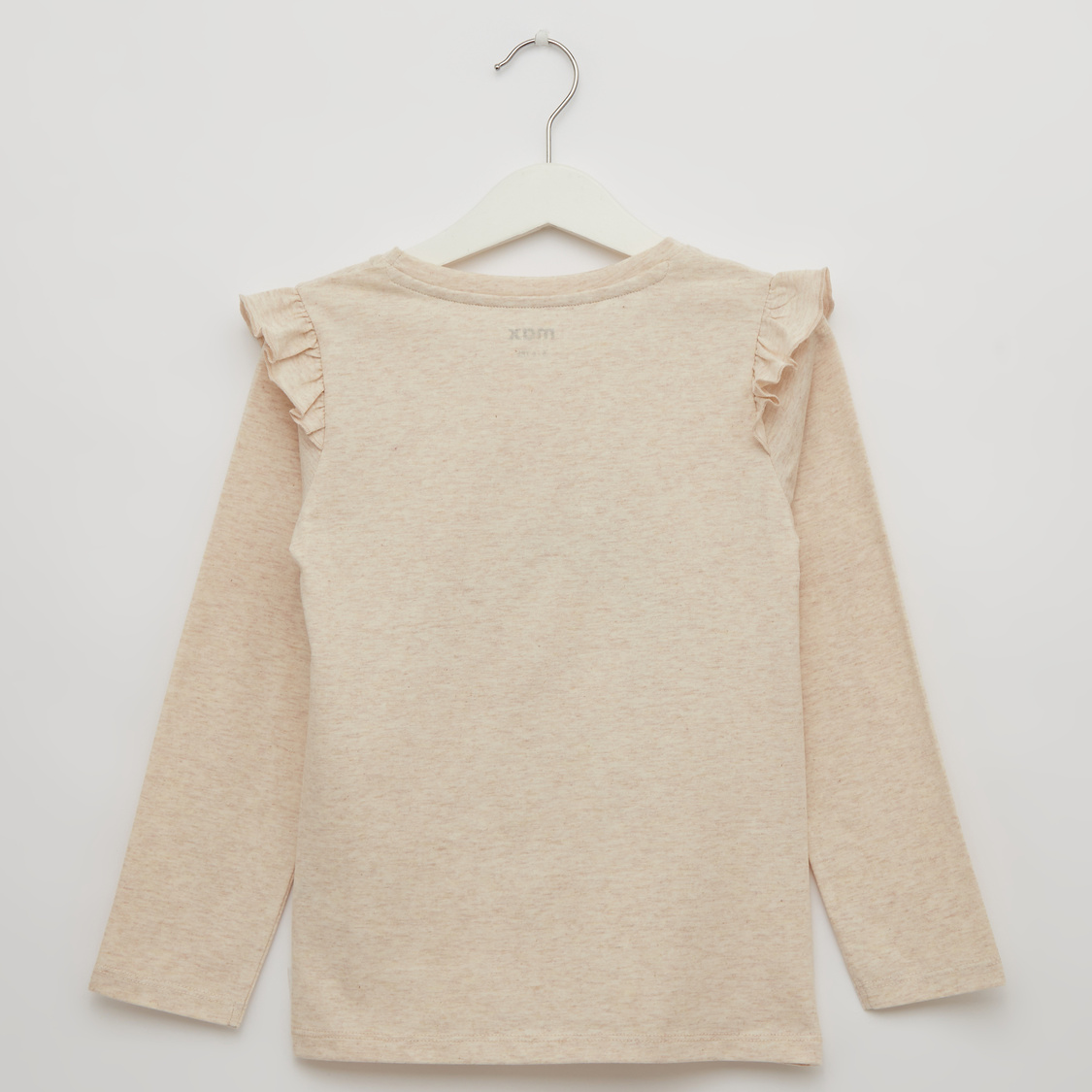 Printed Round Neck T-shirt with Long Sleeves and Frill Accent