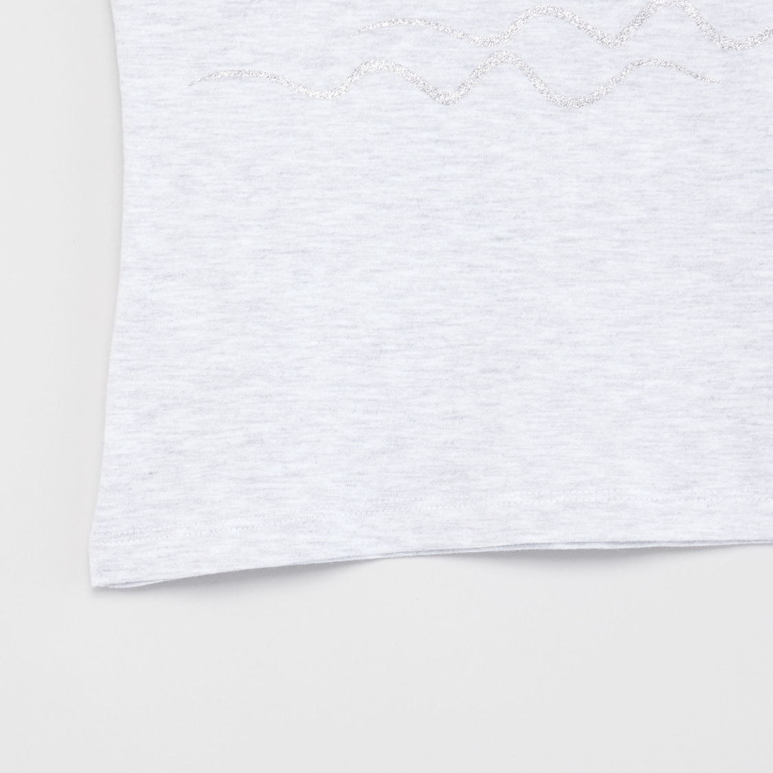 Swan Foil Print T-shirt with Round Neck and Cap Sleeves