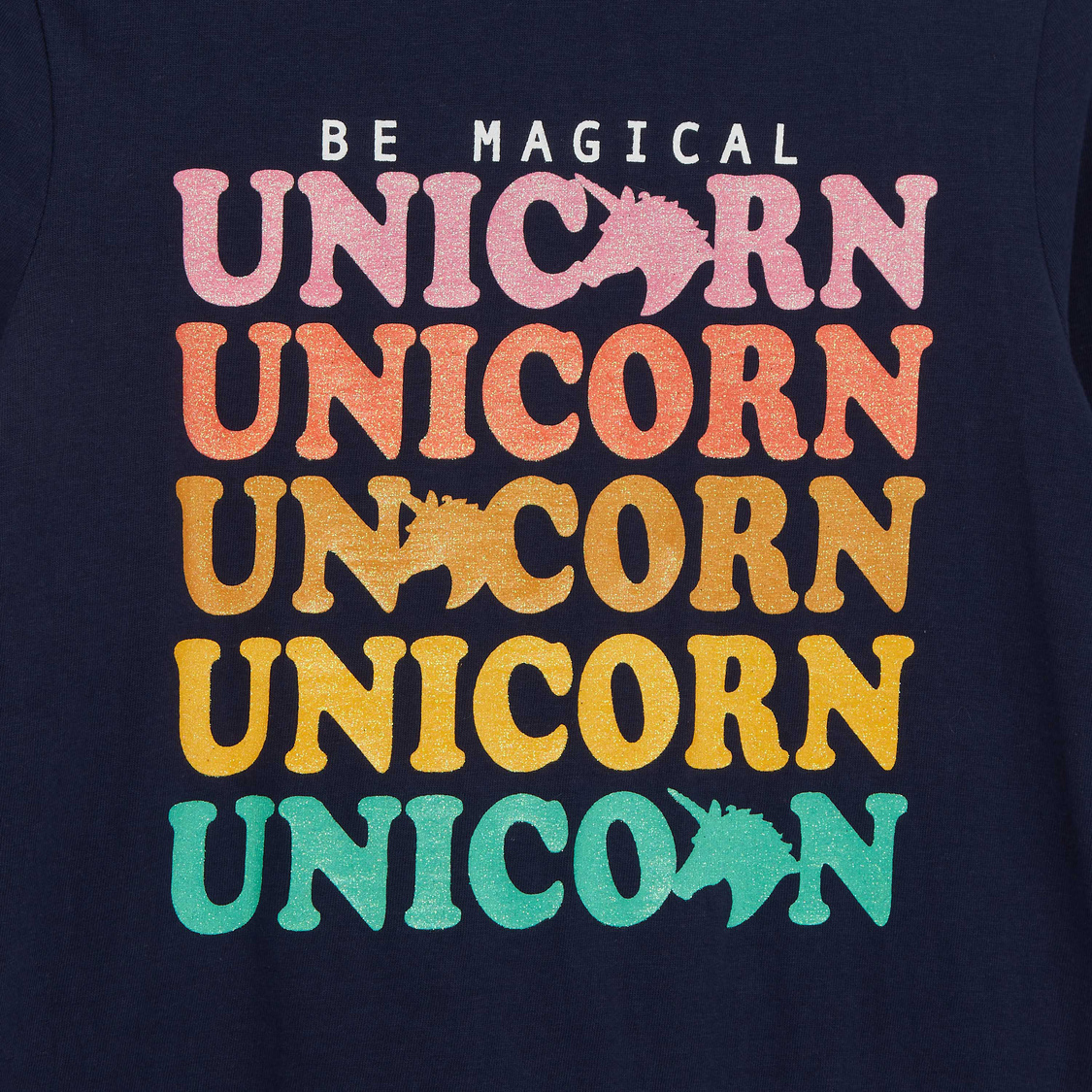 Unicorn Slogan Print T-shirt with Turtle Neck and Long Sleeves