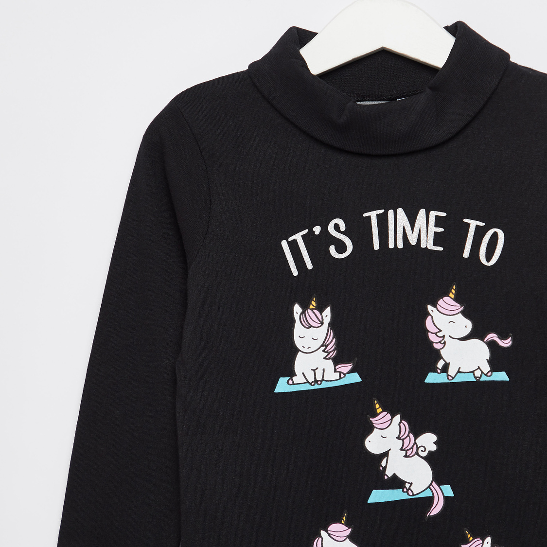 Unicorn Print T-shirt with Turtle Neck and Long Sleeves
