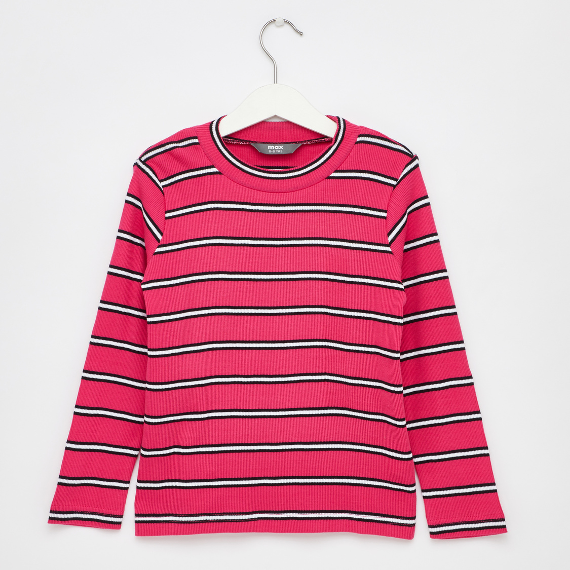 Striped Round Neck T-shirt with Long Sleeves