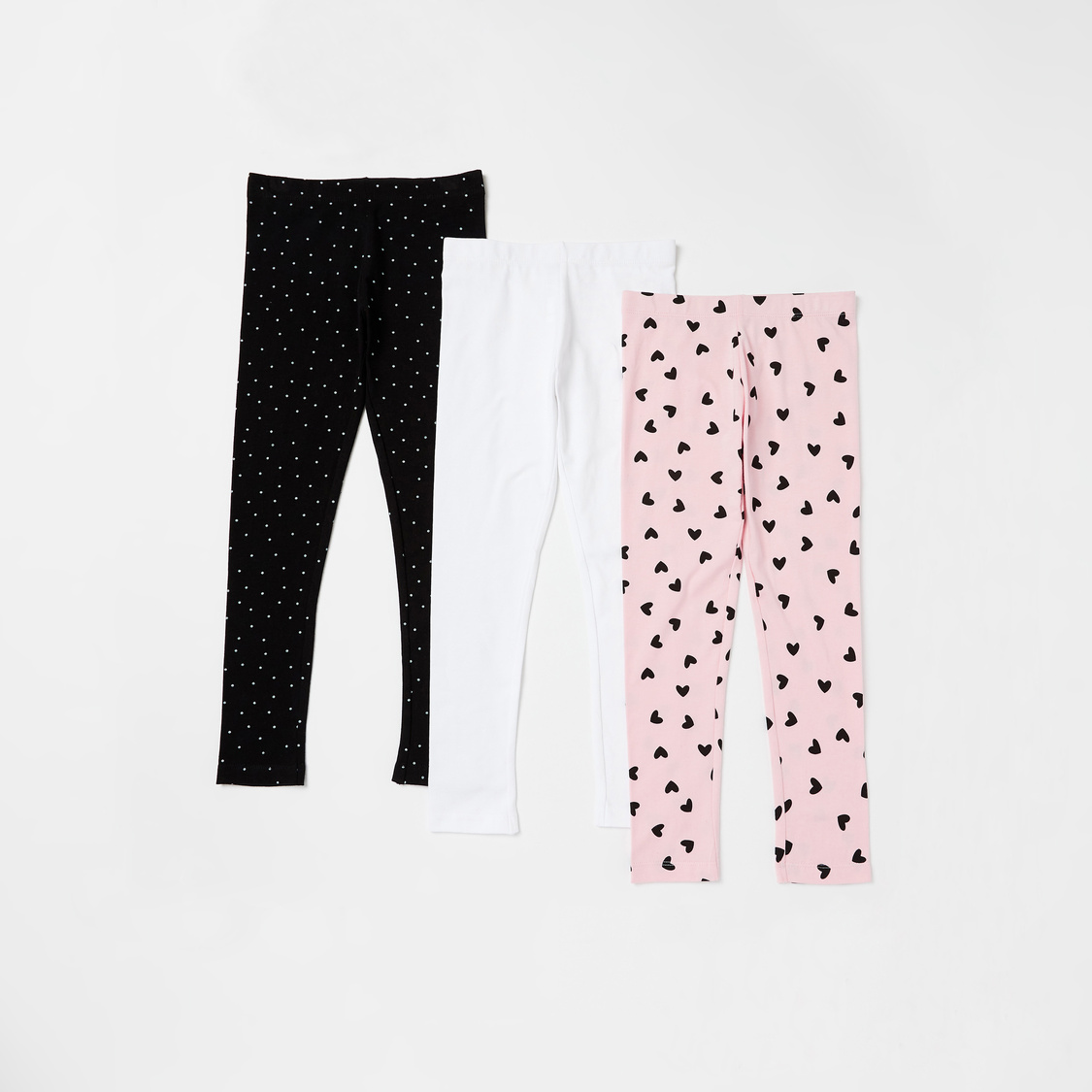 Set of 3 - Assorted Full Length Leggings with Elasticised Waistband