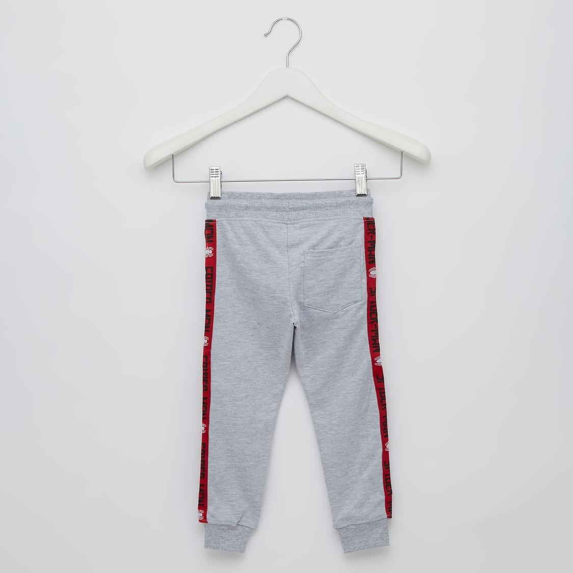 Spider Man Applique Full-Length Jog Pants with Elasticated Waist